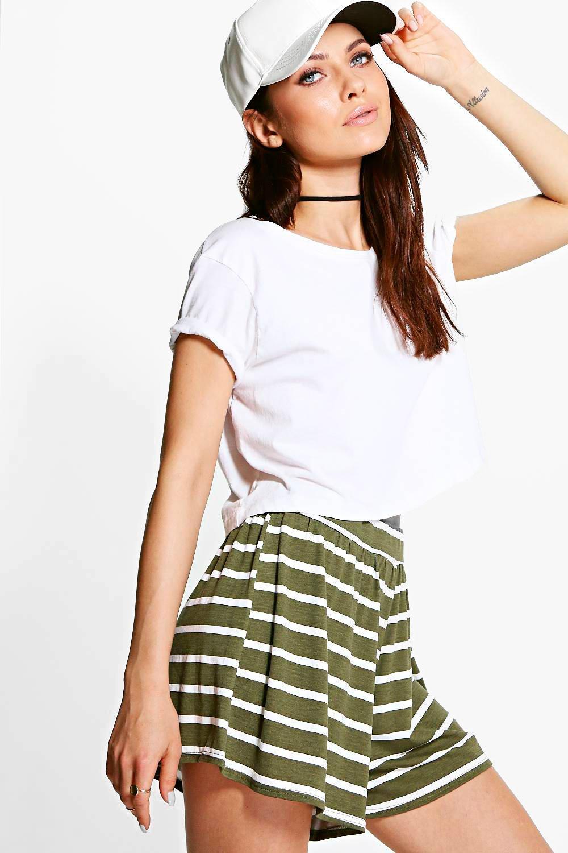 Striped Flippy Shorts  khaki