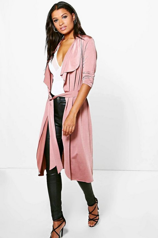 Katie Shawl Collar Belted Slinky Duster