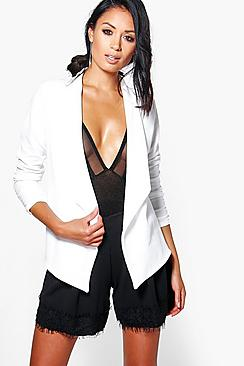 Lottie Waterfall Blazer With Ruched Sleeve
