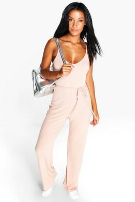 Ellie Ribbed Strappy Wide Leg Jumpsuit