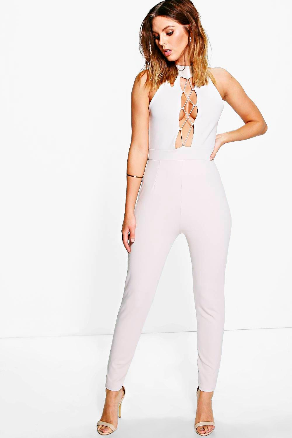 Lola High Neck Lace Up Front Skinny Leg Jumpsuit