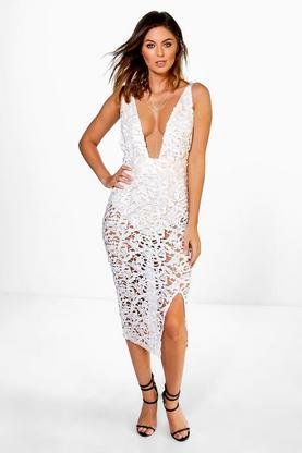 Shahad Cord Lace Bodysuit Midi Dress