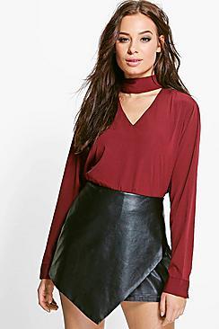 Roxy Bluse aus Webmaterial mit Kropfband - Boohoo.com