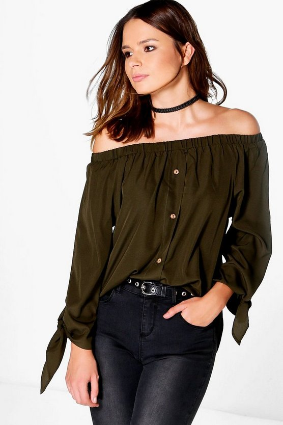 Molly Woven Button Through Off The Shoulder Top