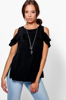 Lily Woven Frill Sleeve Top