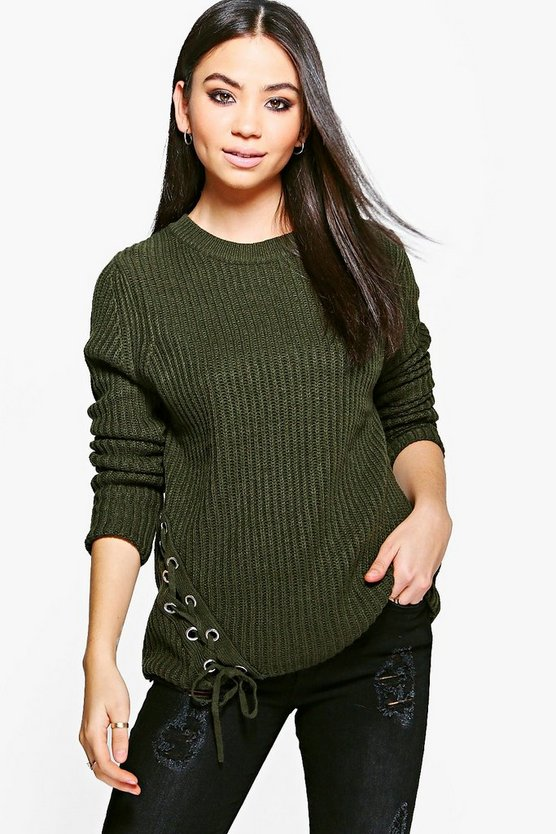 Leila Lace Up Side Fisherman Jumper