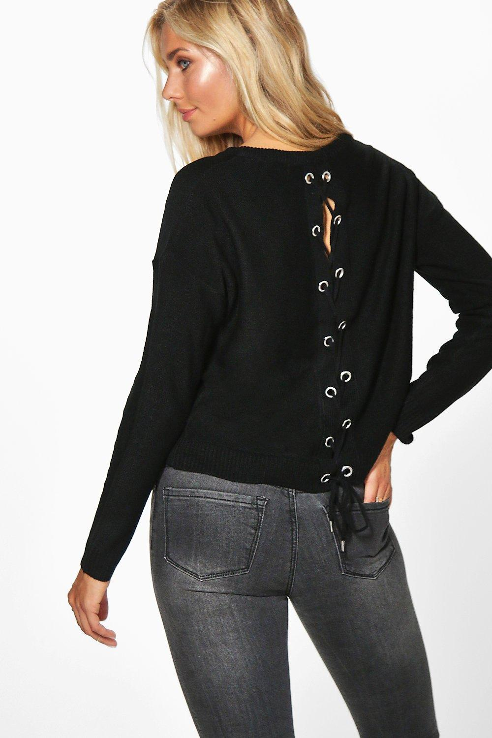 Lillie Lace Up Eyelet Detail Jumper