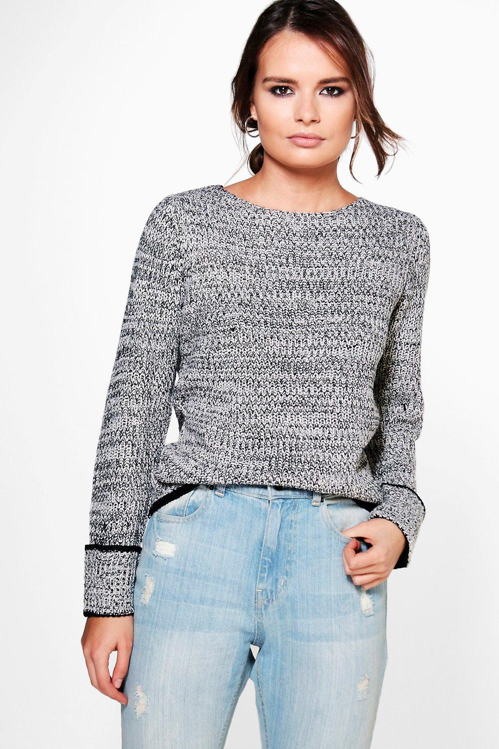 Fisherman Jumper With Tipped Cuff - black