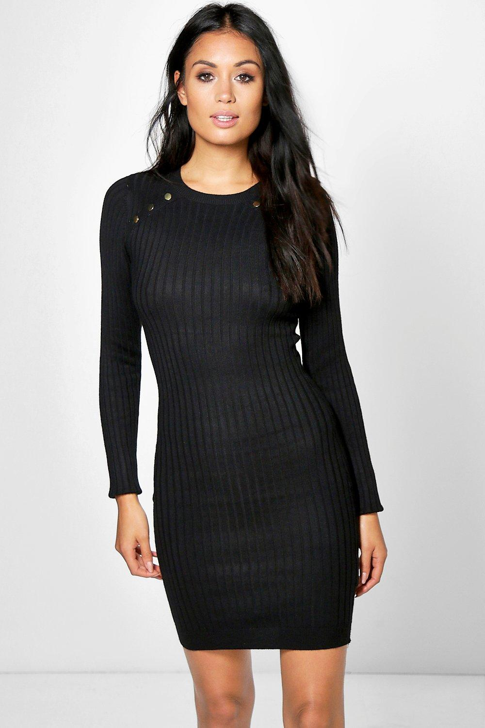 Lydia Rib Knit Button Detail Dress