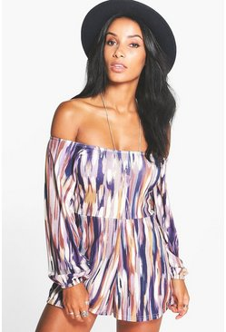Kimmy Multi Print Off the Shoulder Playsuit