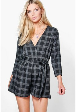 Leah Checked Wrap Front Playsuit