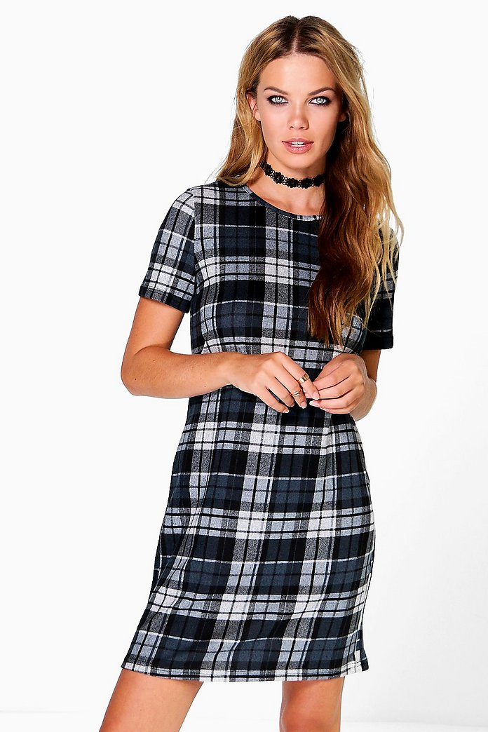Helena Check Brushed Knit Shift Dress