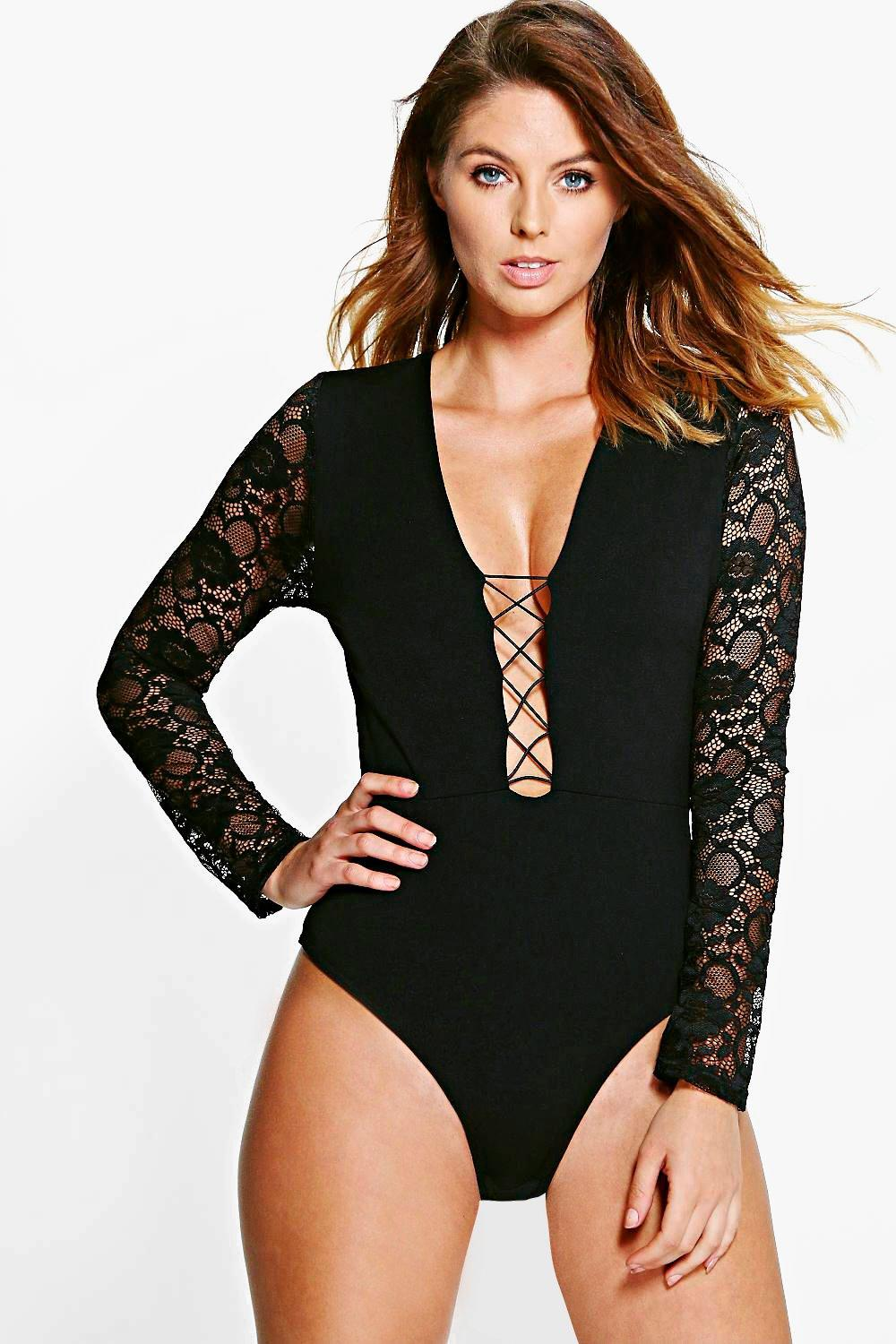 Molly Lace Sleeve Lace up Bodysuit