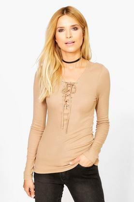 Bethany Long Sleeved Ribbed Lace Up T-shirt