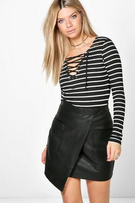Kayla Rib Striped Lace Up T-shirt