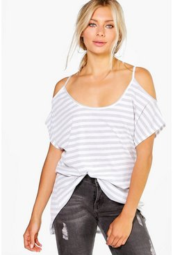 Poppy Cold Shoulder Ribbed Stripe T-Shirt