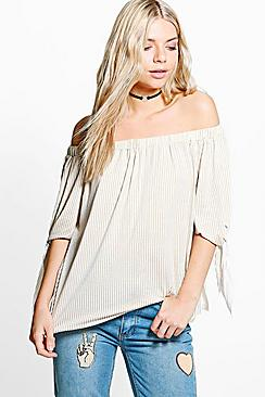 Amber Tie Sleeve Striped Jersey Bardot Top
