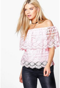 Erin Crochet Woven Off The Shoulder Top