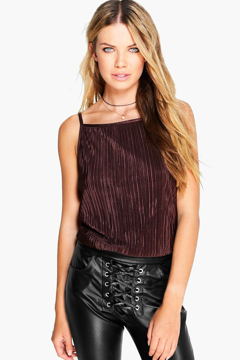 Woven Crinkle Crop Cami chocolate