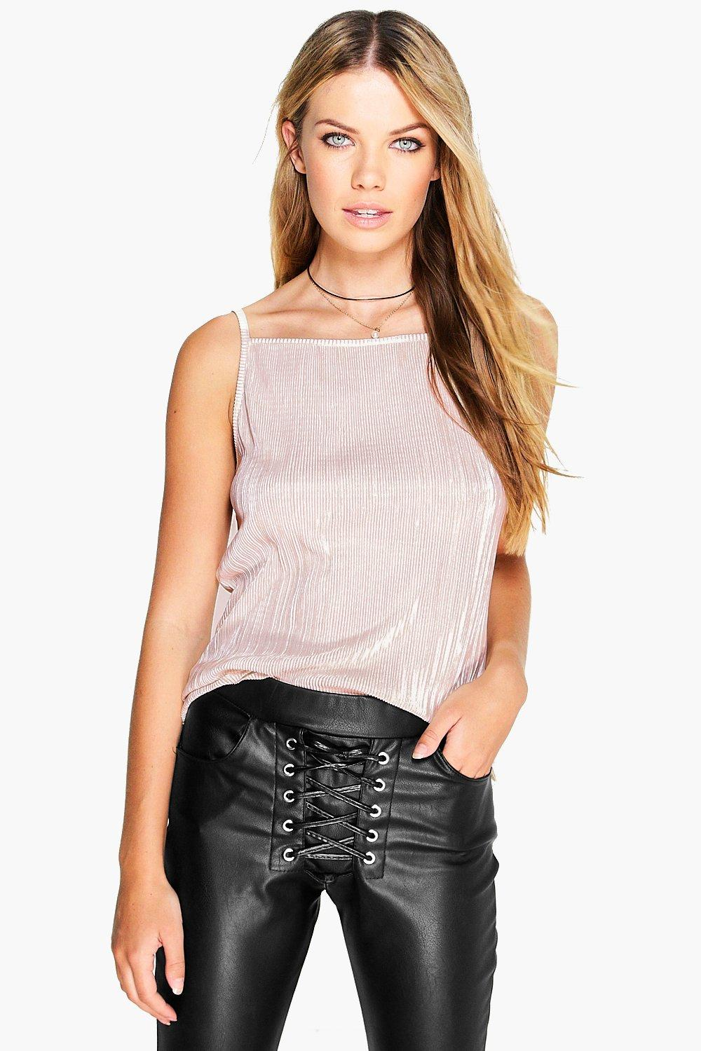 Woven Crinkle Crop Cami toupe