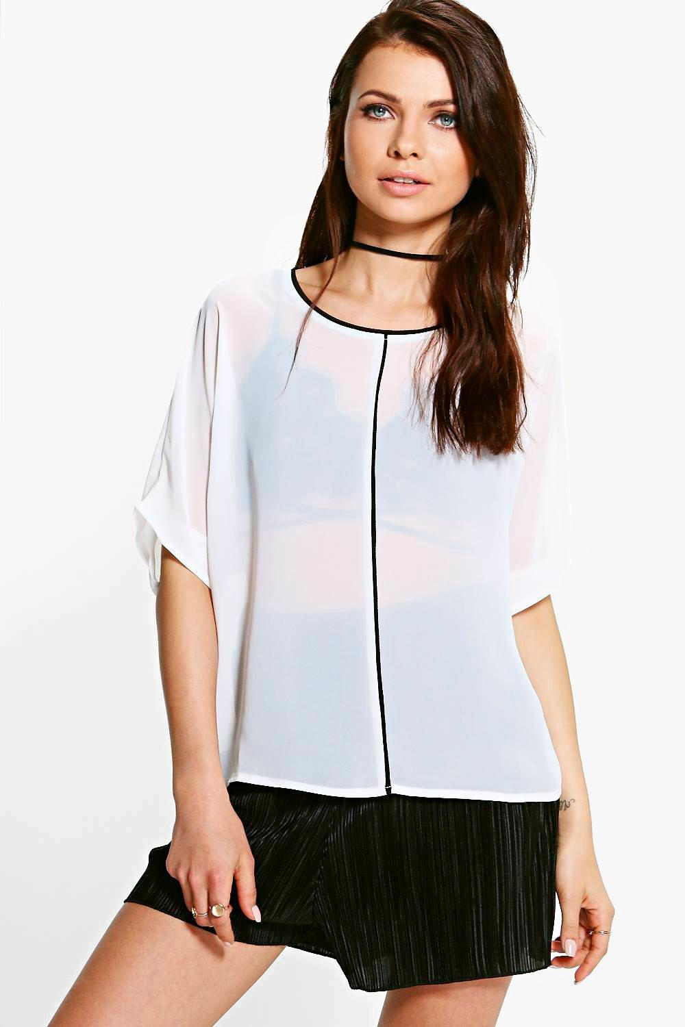 Scarlett Woven Contrast Binding Shell Top