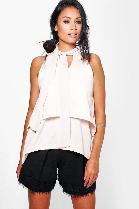 Abigail Double Layer High Neck Top