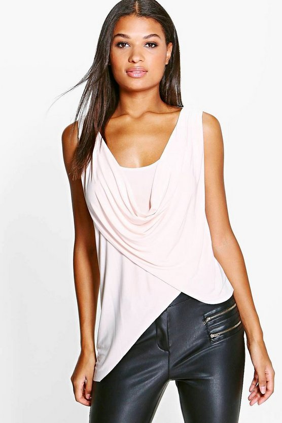 Julia Slinky Wrap Cowl Asymmetrical Top