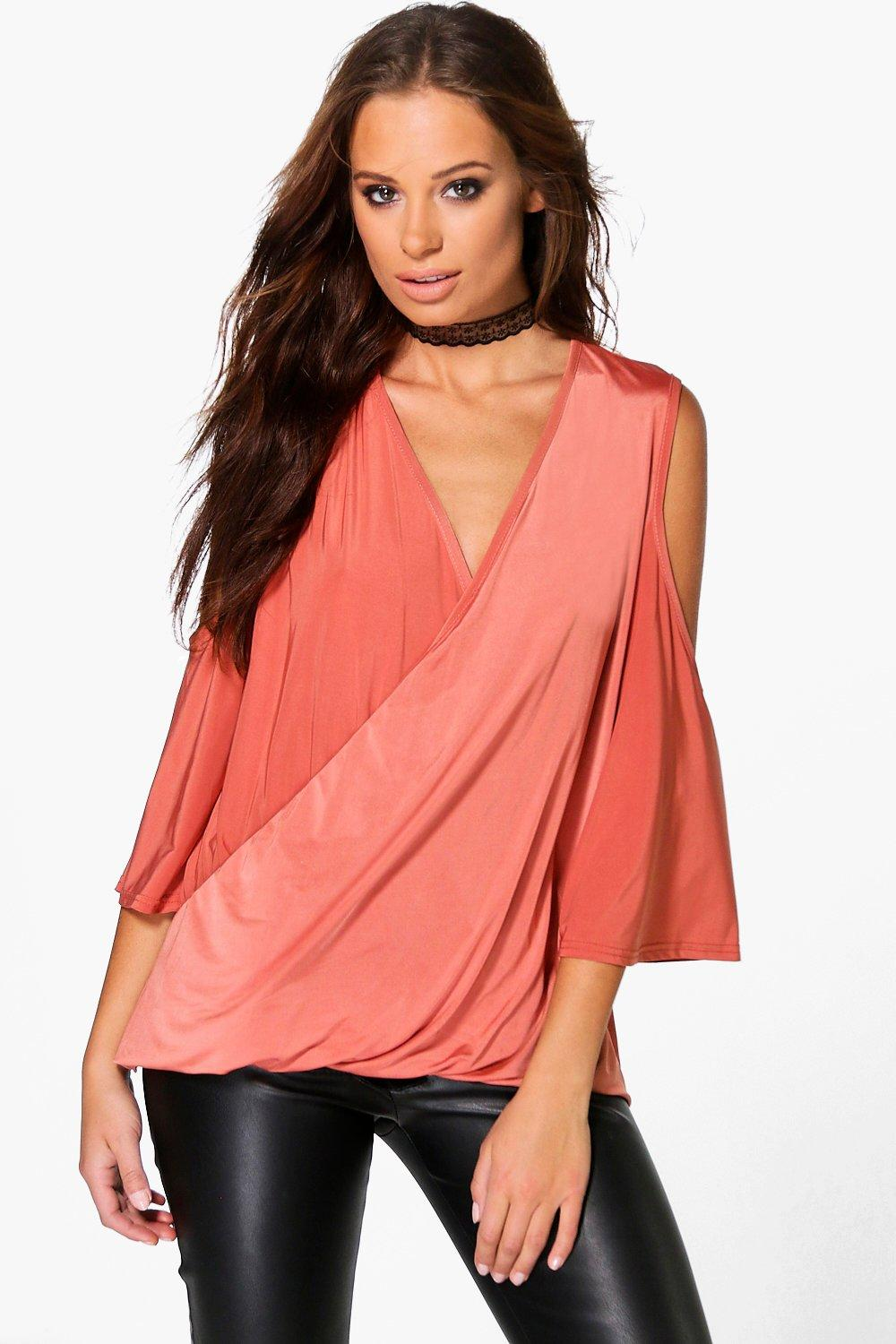 Rosie Slinky Drape Wrap Cold Shoulder Top