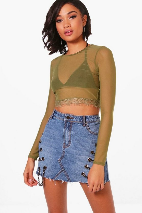 Daisy Long Sleeve Lace Trim Mesh Crop