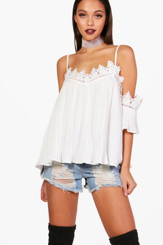 Crochet Trim Woven Crinkle Cold Shoulder Top