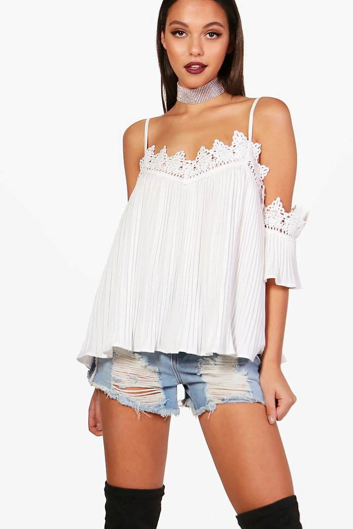 Keira Crochet Trim Woven Crinkle Cold Shoulder Top
