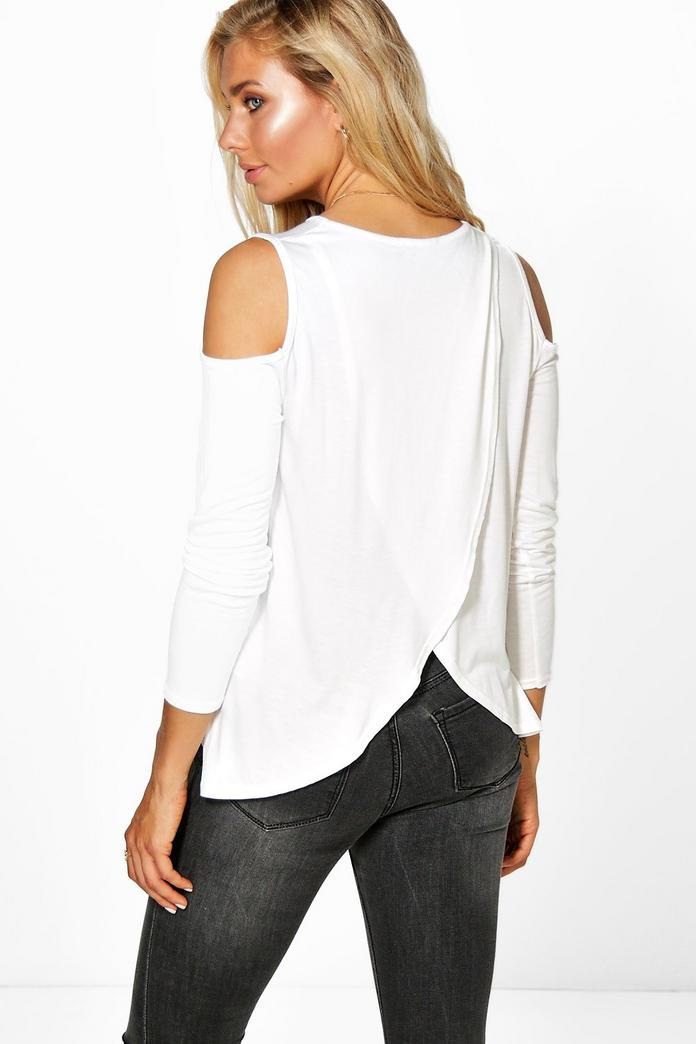Nina open shoulder wrap back t shirt boohoo for Wrap style t shirts