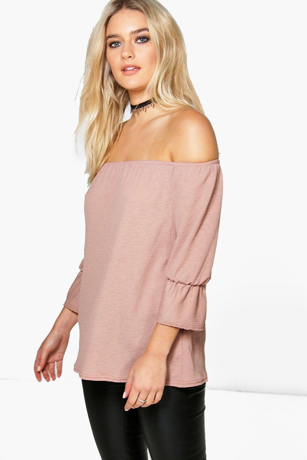 Jen Textured Off The Shoulder Bardot Top