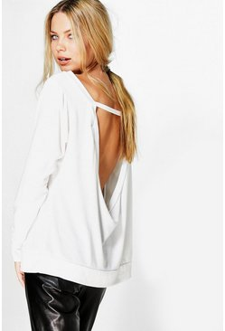 Ria Slash Neck Open Back Sweat