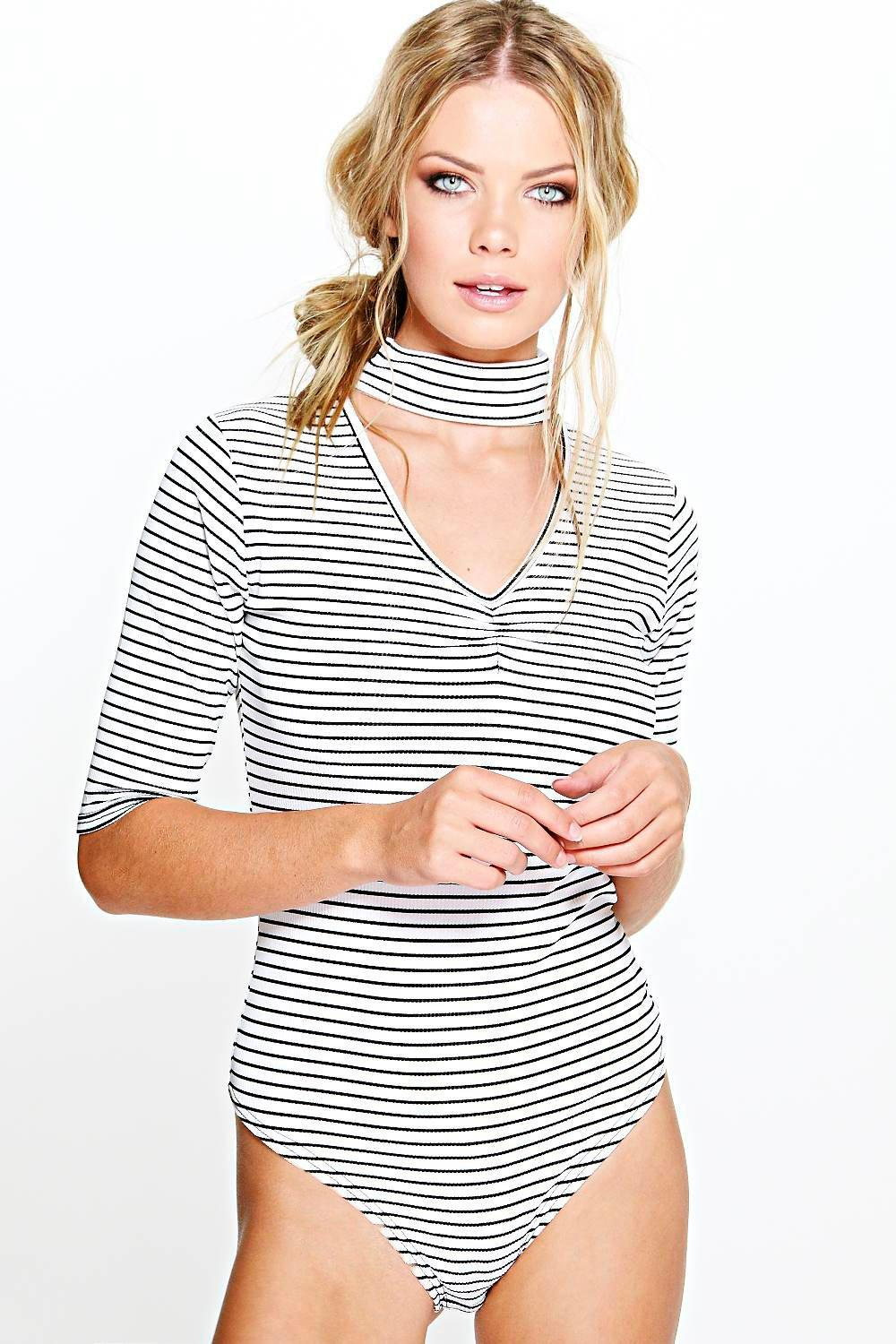 Ruby Stripe Ribbed Cut Out Neck Bodysuit