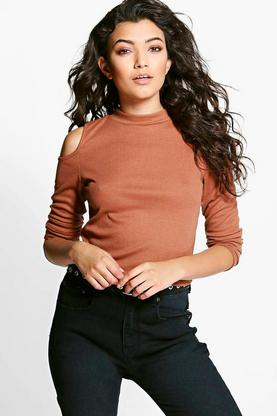 Claire Cold Shoulder Ribbed Roll Neck