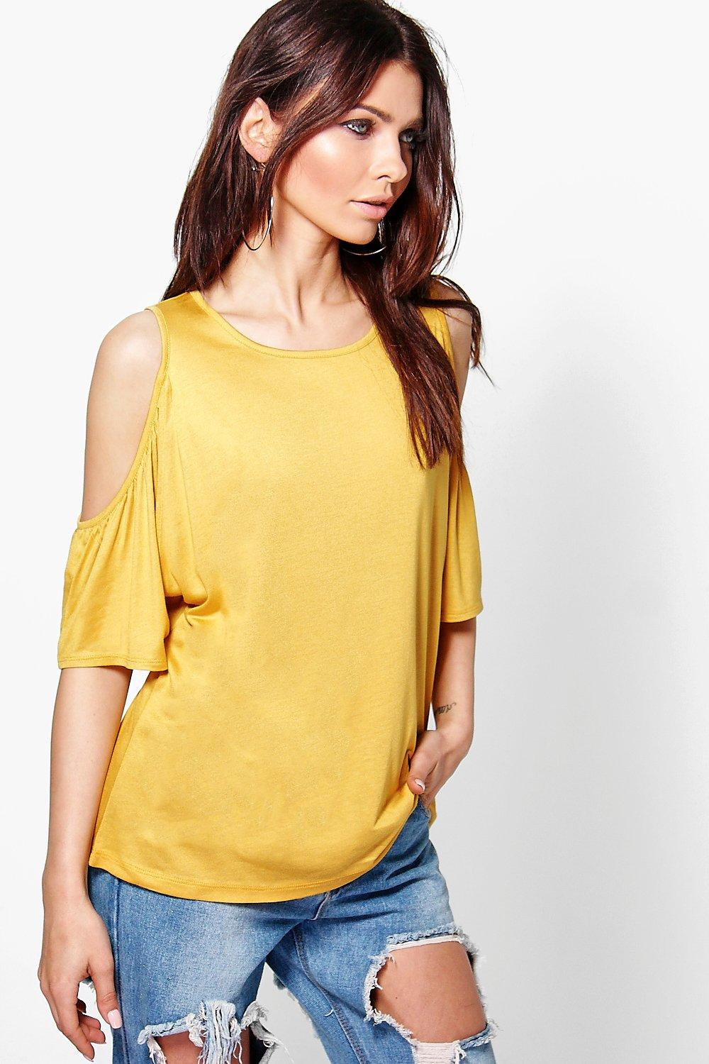 Emily Flute Sleeve Cold Shoulder T-Shirt