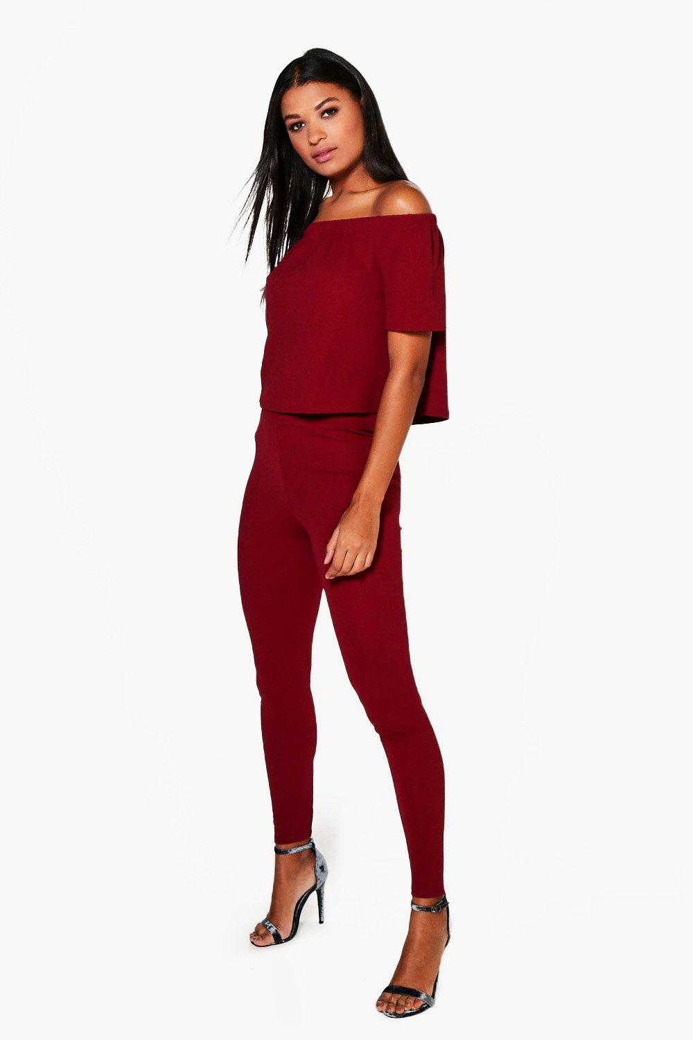 Off The Shoulder Top Skinny Trouser - berry