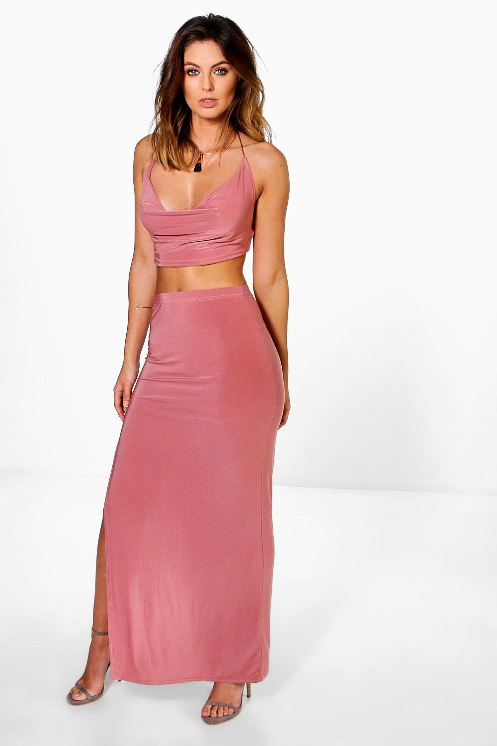 Nina Slinky Cowl Tie Top And Maxi Skirt Co-Ord