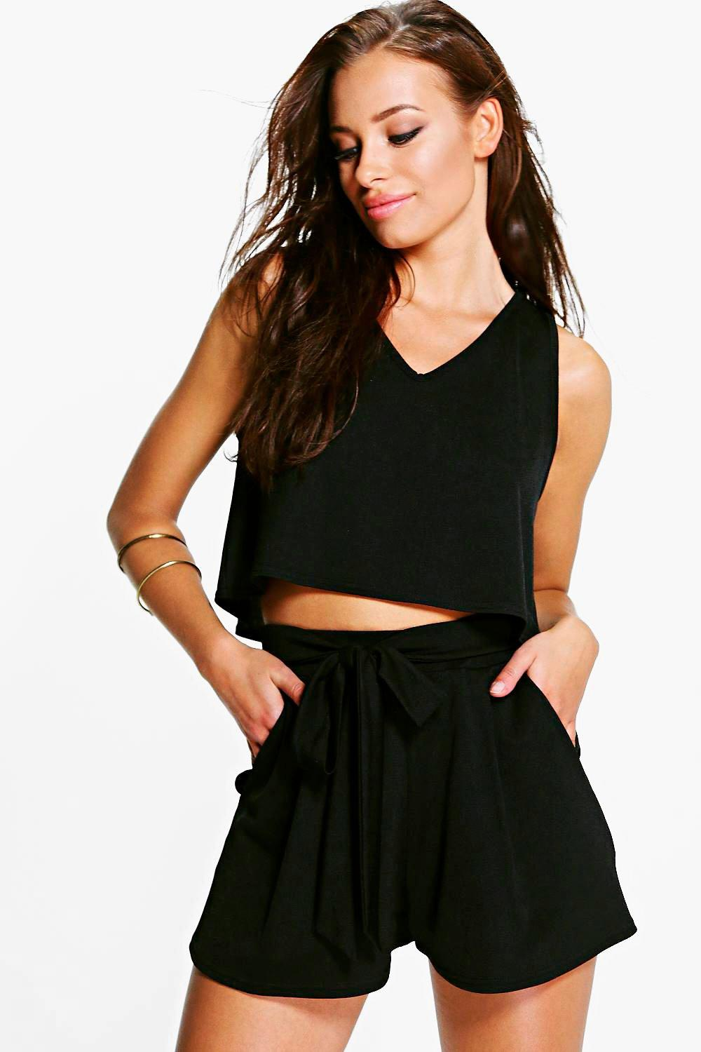 Lola V Neck Top + Tie Short Co-Ord