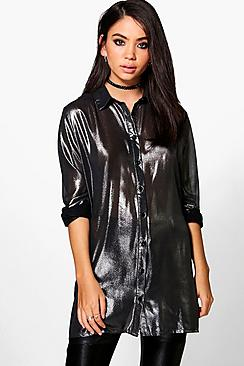 Annie Metallic Long Line Shirt