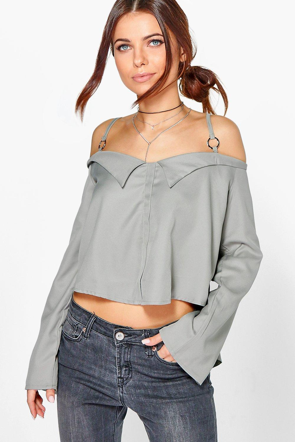 Enya Woven Cold Shoulder Shirt