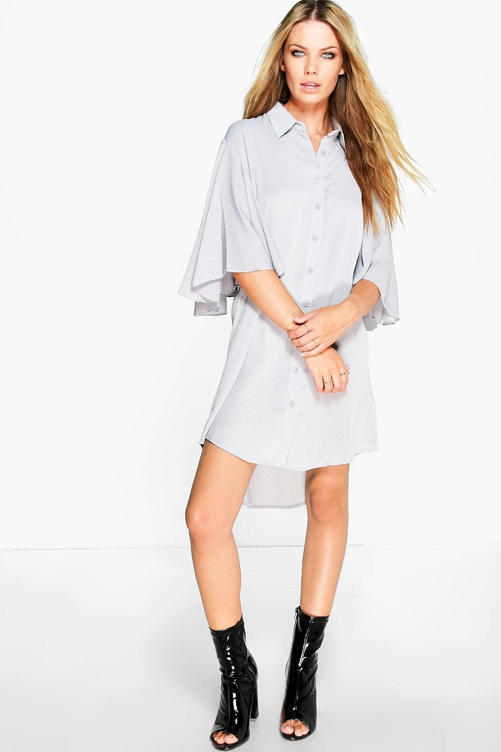 Sia Oversized Flute Sleeve Shirt Dress