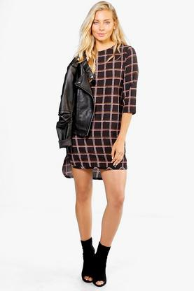 Charlotte Check 3/4 Sleeved Shift Dress