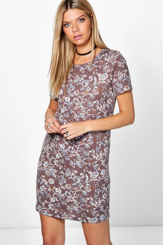 Floral Brushed Knit Shift Dress  mocha