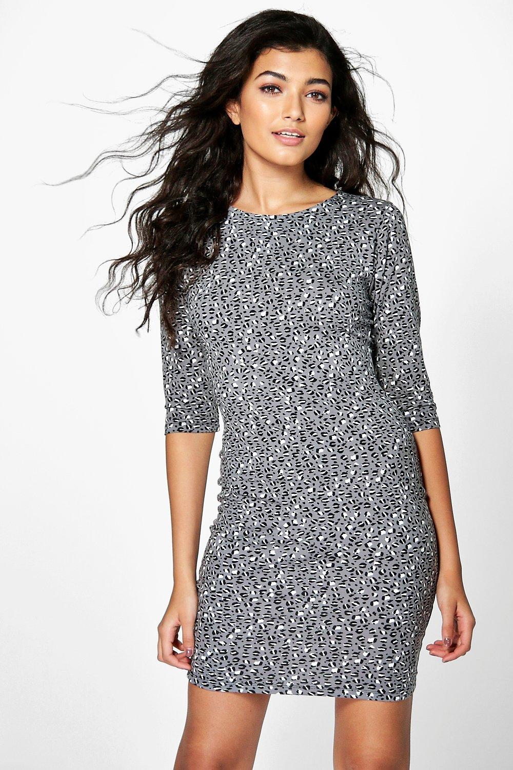 Emily Printed 3/4 Sleeve Bodycon Dress