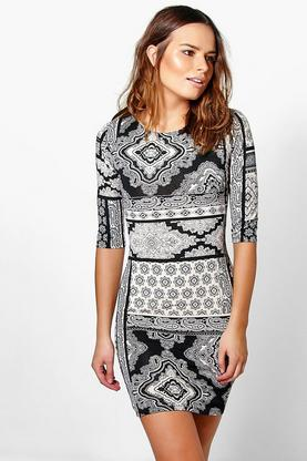 Sasha Printed 3/4 Sleeve Bodycon Dress