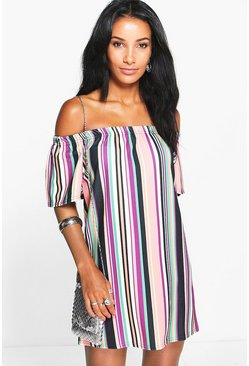 Lea Ruffle Off Shoulder Stripe Shift Dress