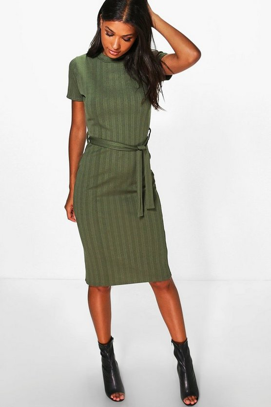 Harriet Rib Tie Waist Midi Dress