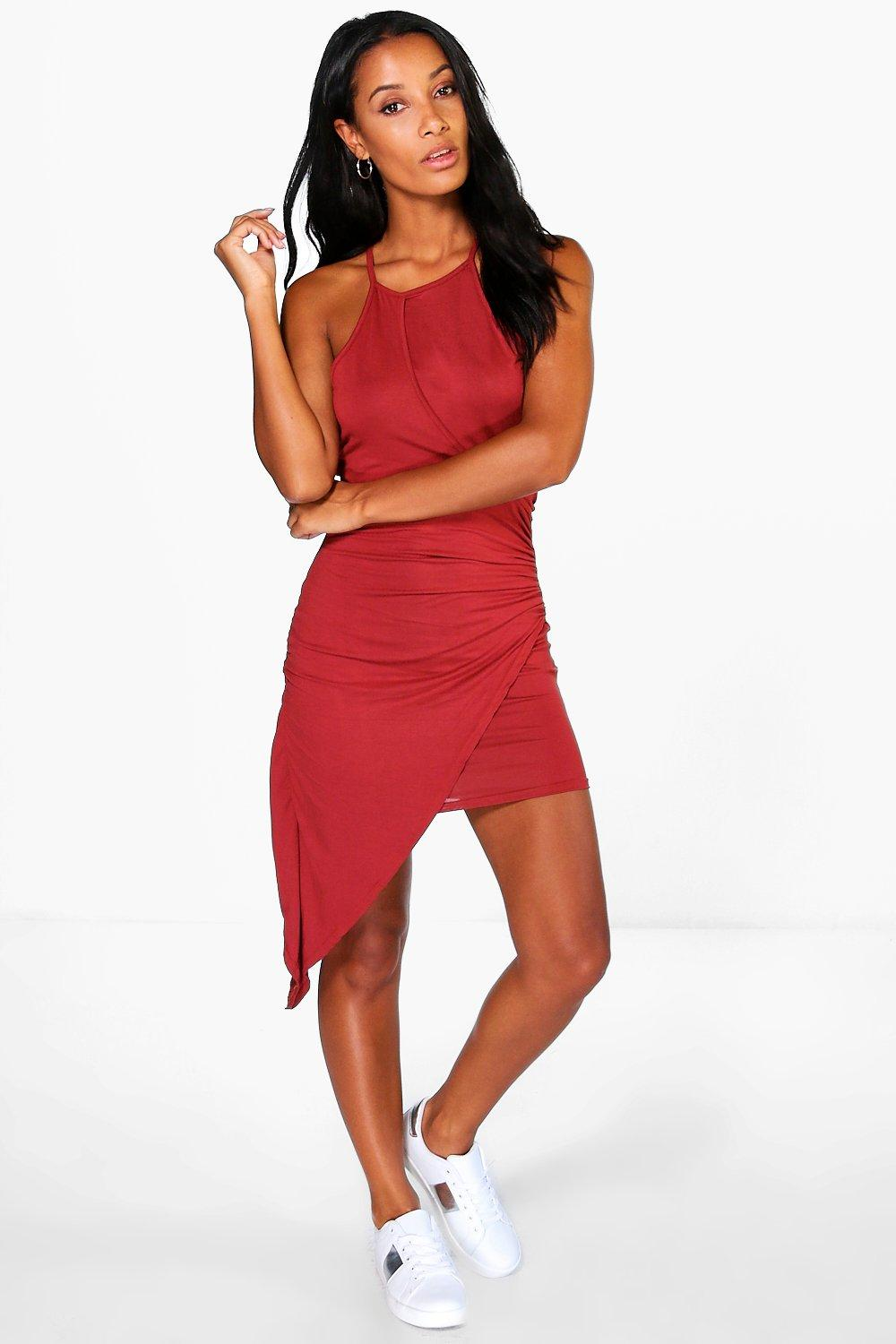 Hannah Highneck Wrap Asymmetric Dress